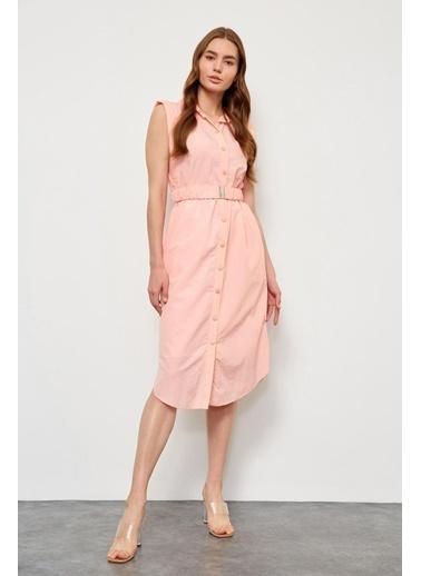 Setre Limon Kremi Kemerli Kolsuz Elbise Kırmızı